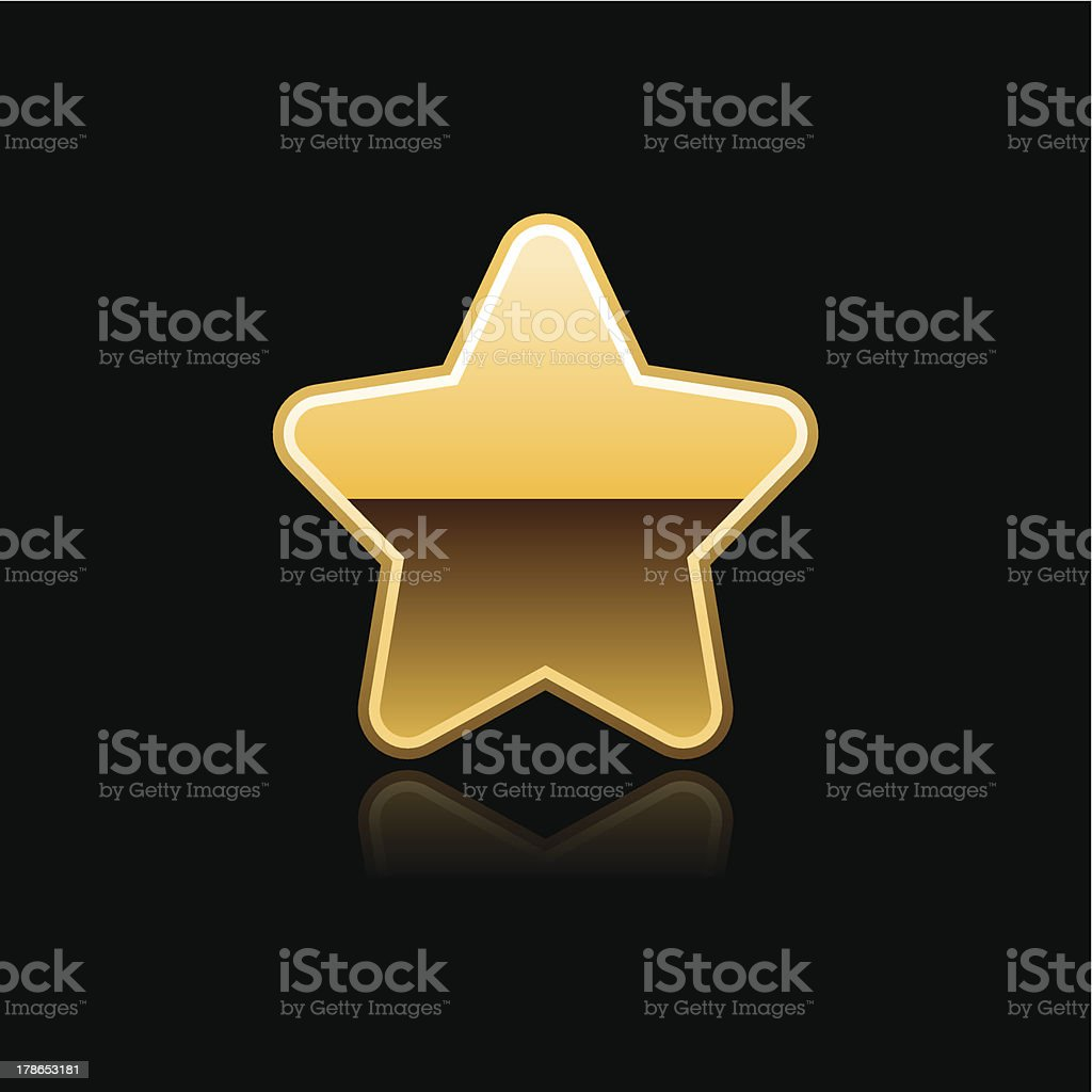 Gold star sign glossy icon chrome pictogram web internet button royalty-free stock vector art