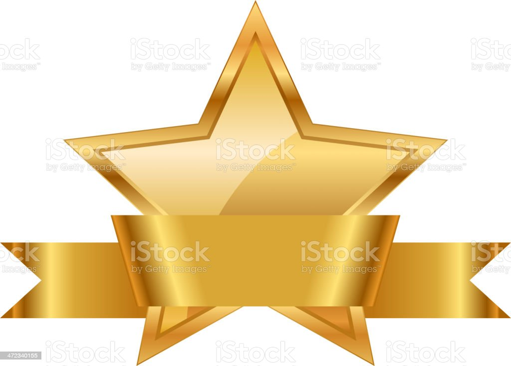 Gold star with ribbon royalty-free stock vector art