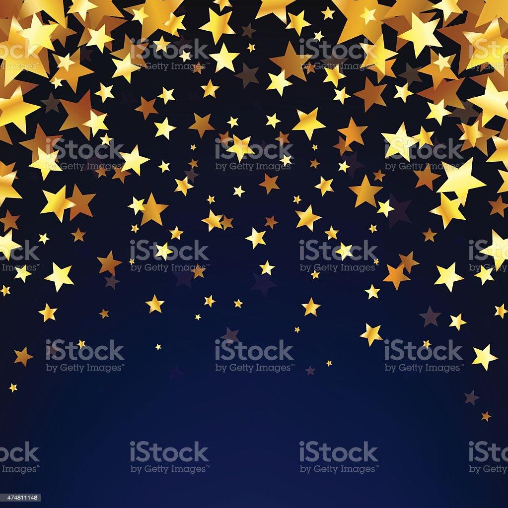Gold Stars OnThe Dark Background vector art illustration