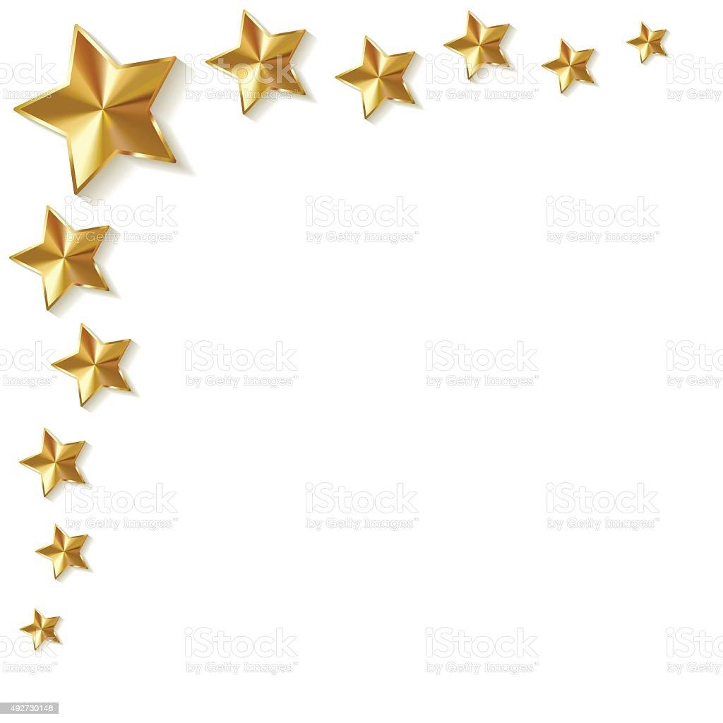 Gold stars vector in the corner on a white background. vector art illustration