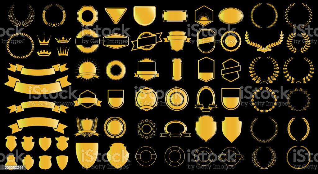 Gold style ladels and badjes generator vector art illustration