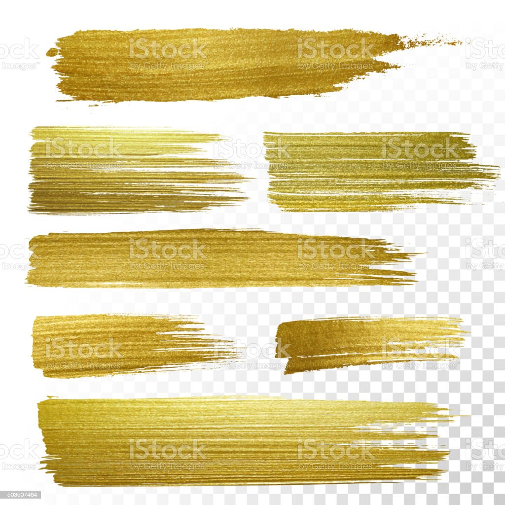 Gold textured paint strokes vector art illustration