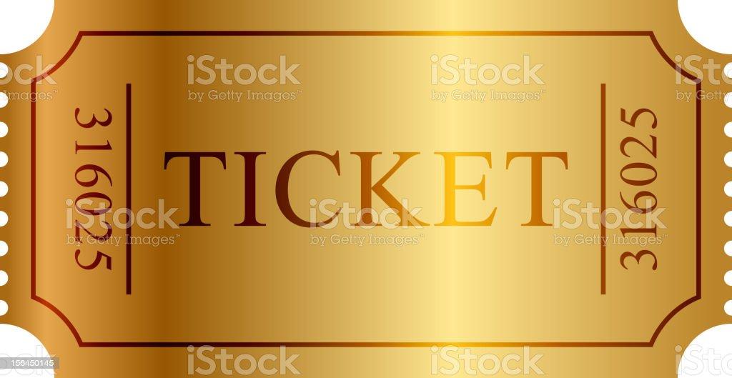 Gold ticket vector art illustration
