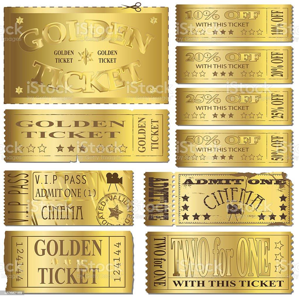 Gold Tickets vector art illustration