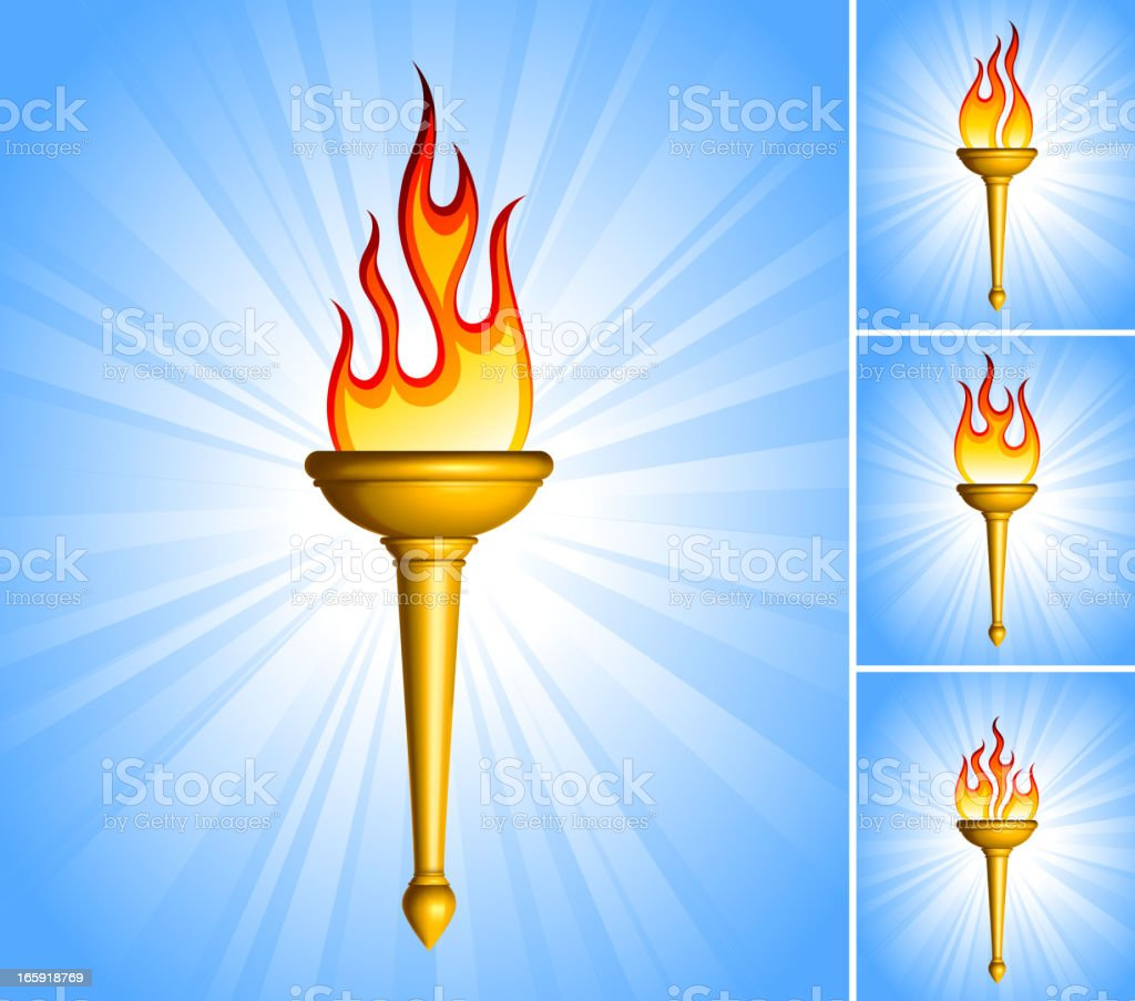 Gold Torch royalty free vector icon set collection vector art illustration
