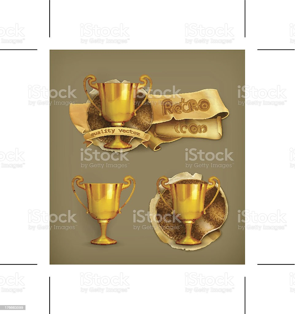 Gold trophy icon royalty-free stock vector art