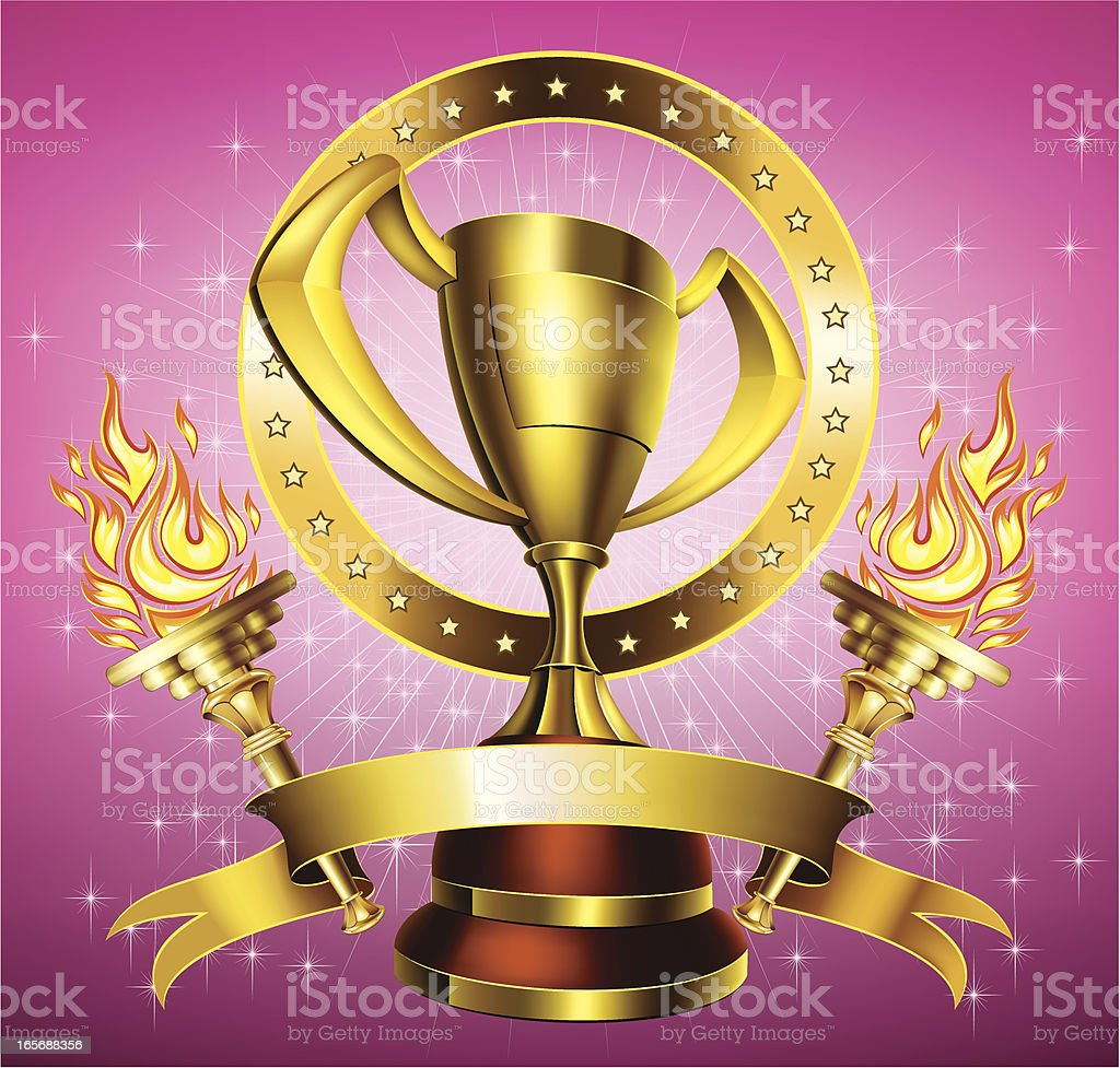 Gold trophy with flaming torches royalty-free stock vector art