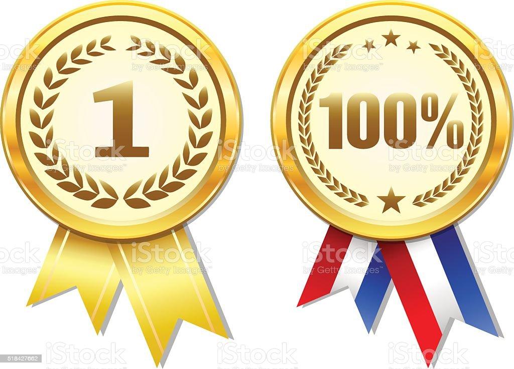 Gold vector award medals set vector art illustration