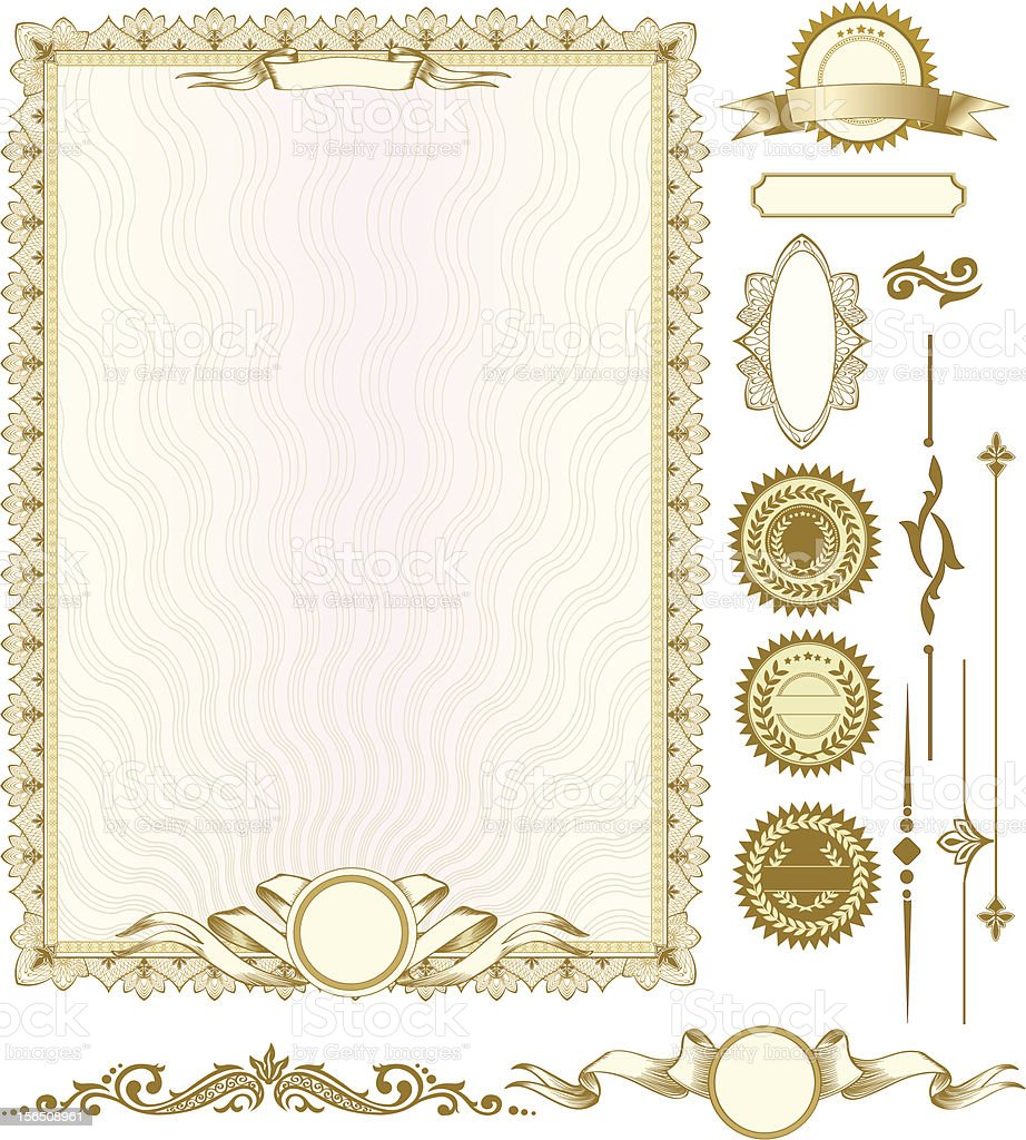 Gold vertical certificate template with additional design elements vector art illustration
