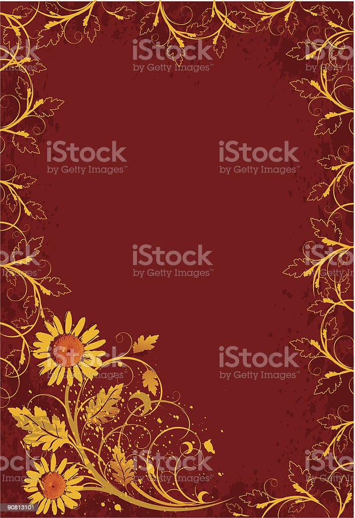 gold vintage camomiles on red grunge flowers background royalty-free stock vector art