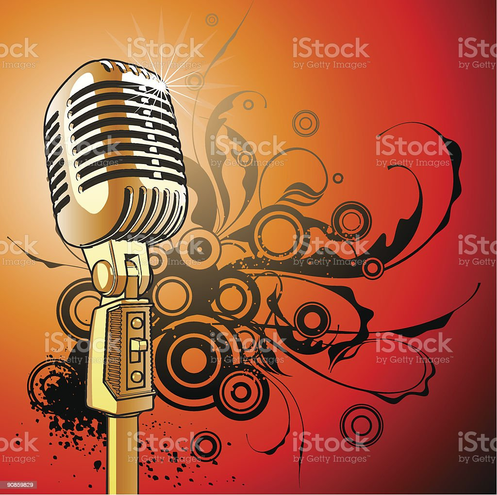 gold vintage microphone vector art illustration