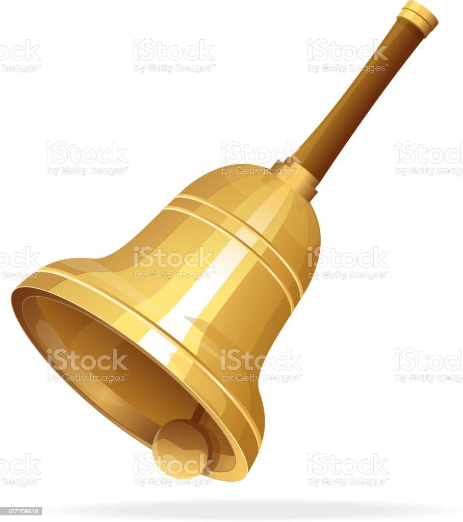 Gold vintage retro school bell royalty-free stock vector art