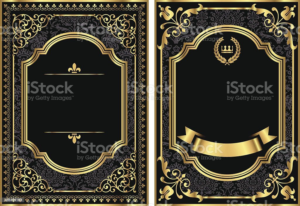 Gold Vintage Scroll Frames vector art illustration