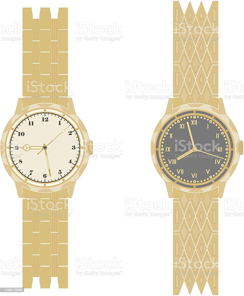 Gold watch and bracelet vector art illustration