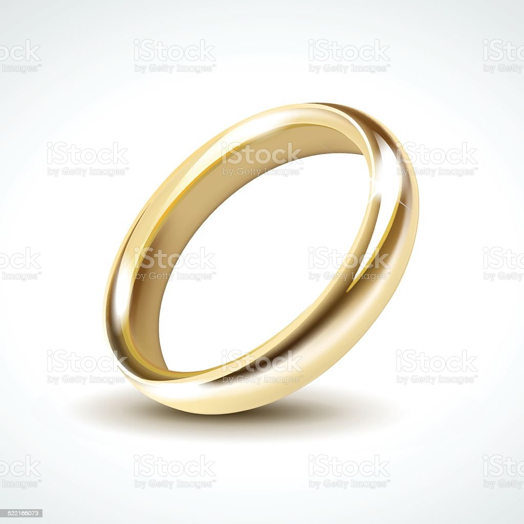 Gold Wedding Ring Isolated vector art illustration