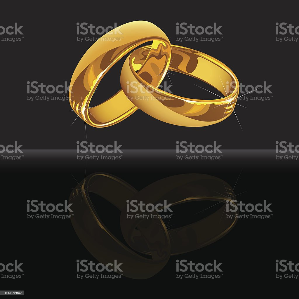 Gold wedding rings on black background with reflection vector art illustration