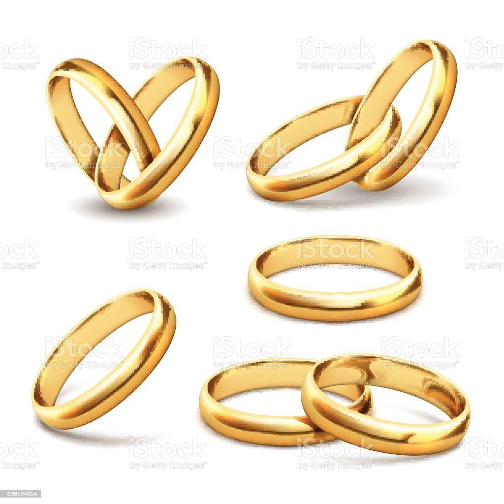 Gold wedding rings vector art illustration