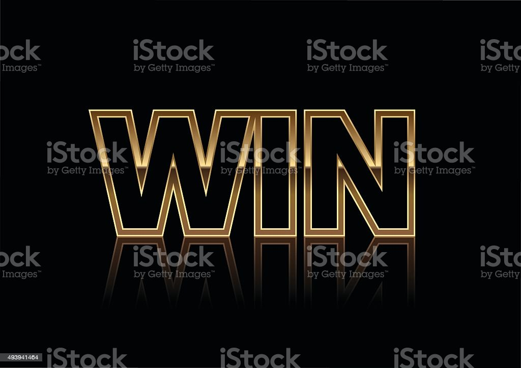 Gold Win Banner Isolated on a Black Background. vector art illustration