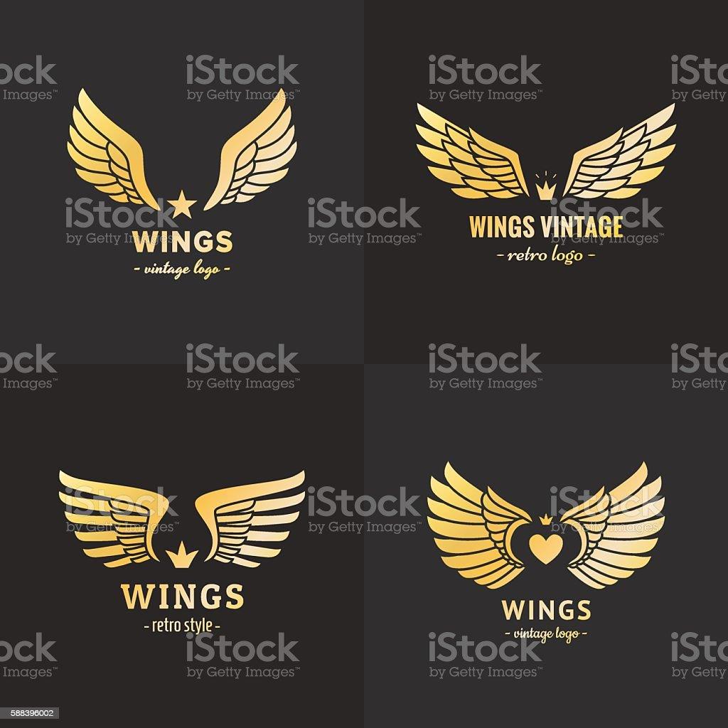 Gold wings logo vector set. Vintage hipster design. Part one. vector art illustration