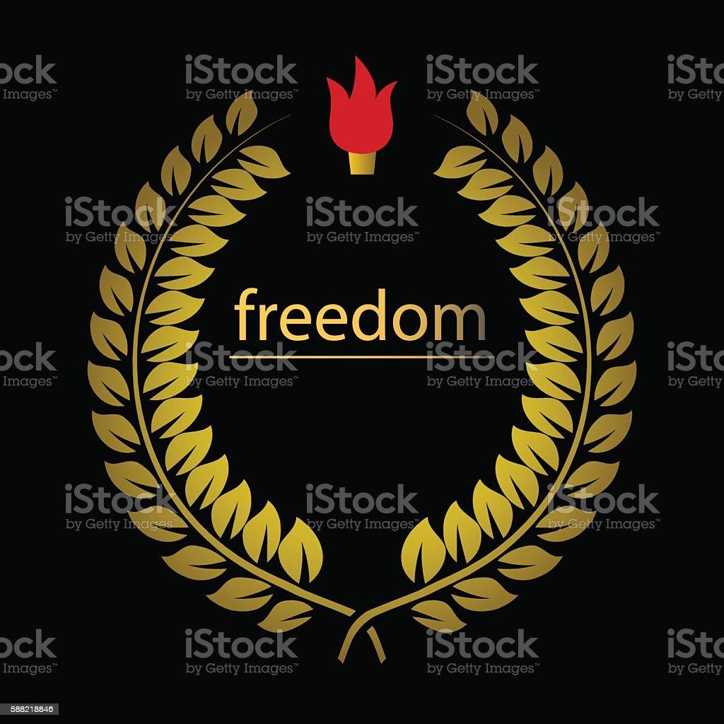 Gold wreath freedom and cresset over black vector art illustration