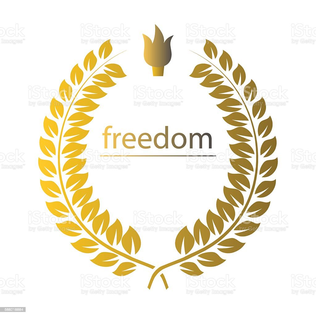 Gold wreath with word freedom and cresset over white vector art illustration