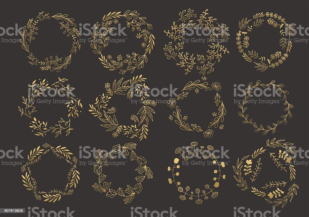 Gold wreaths and laurels vector art illustration