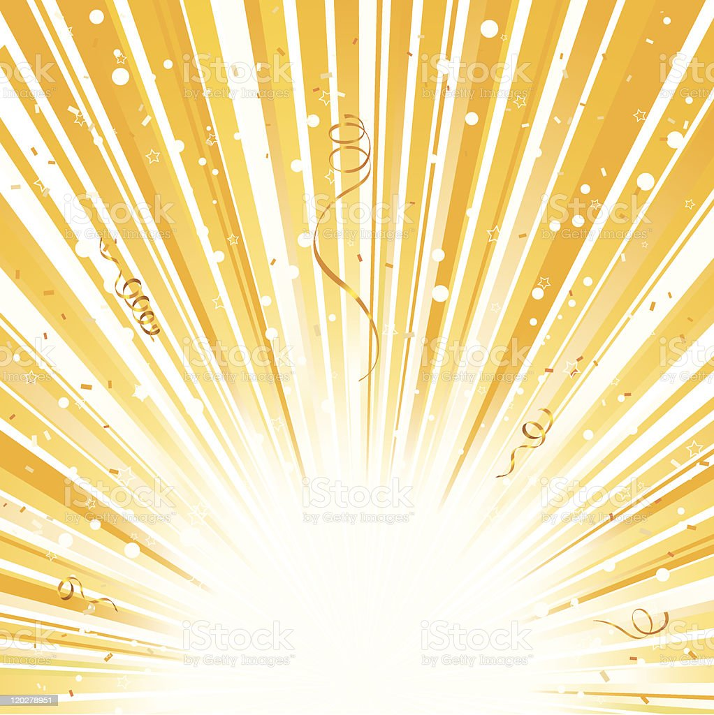 Gold Yellow Light Explosion with Ribbon and Confetti royalty-free stock vector art