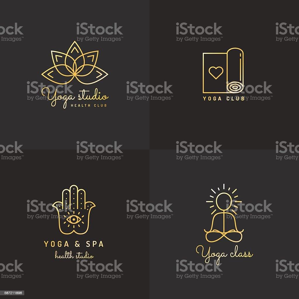 Gold yoga logo vector set. Vintage hipster design. vector art illustration