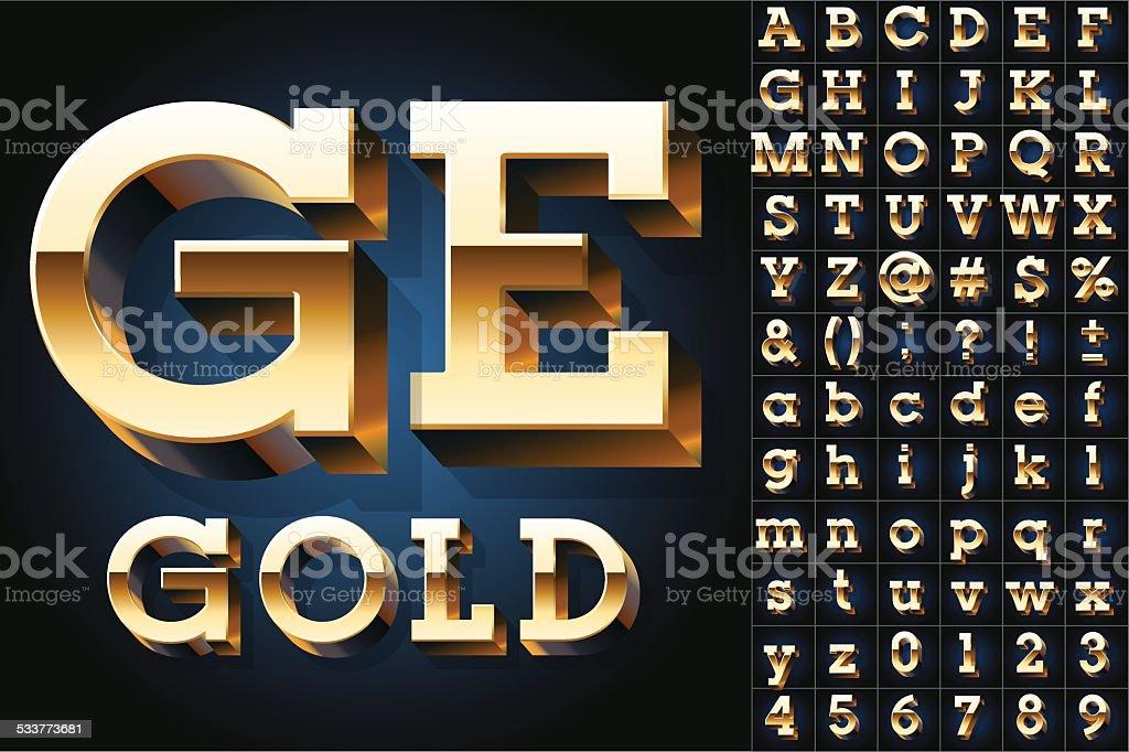 Golden 3D alphabet vector art illustration