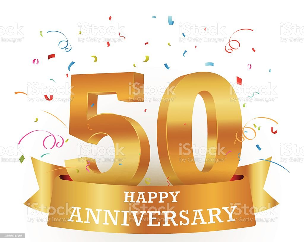 Golden 50 anniversary illustration with colorful confetti vector art illustration