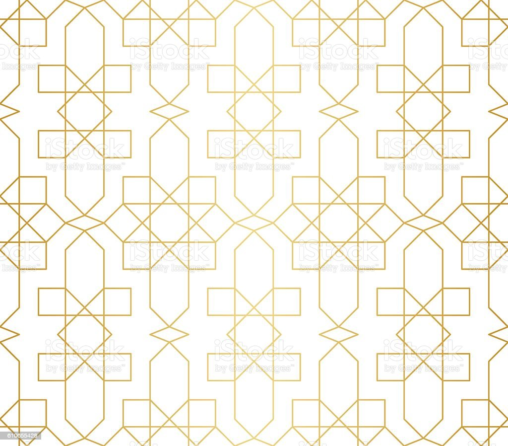Golden abstract geometric pattern with rhombus, triangles and squares vector vector art illustration