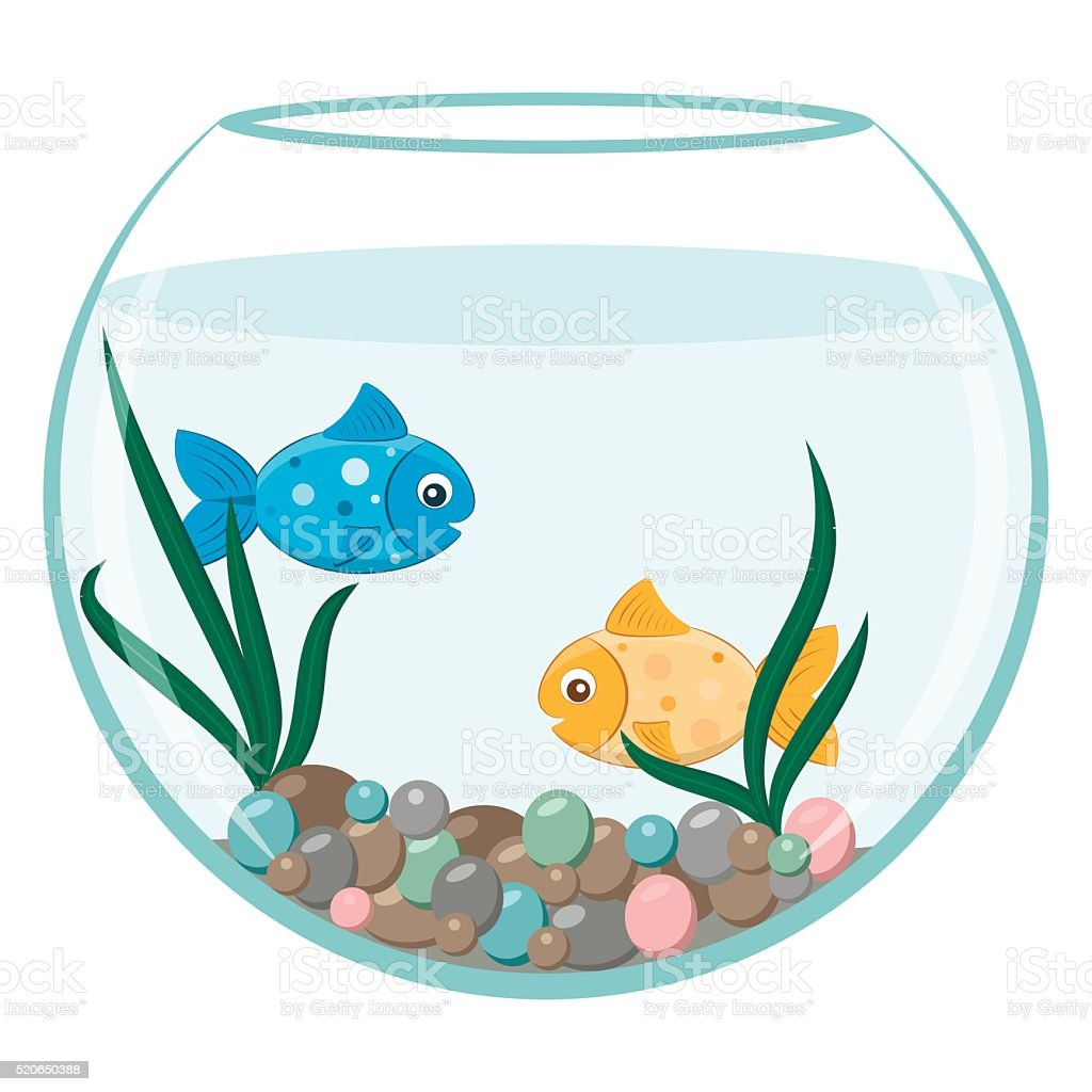 golden and blue fish in the round aquarium stock vector. Black Bedroom Furniture Sets. Home Design Ideas
