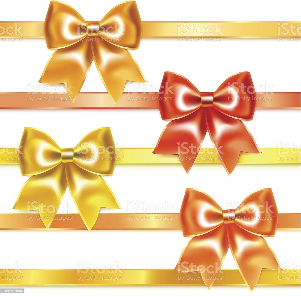 Золотой и бронзовой Шелковые бантики из лент векторная иллюстрация