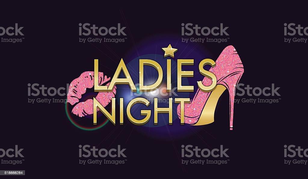 Golden and glitter design elements for ladies night adverising vector art illustration