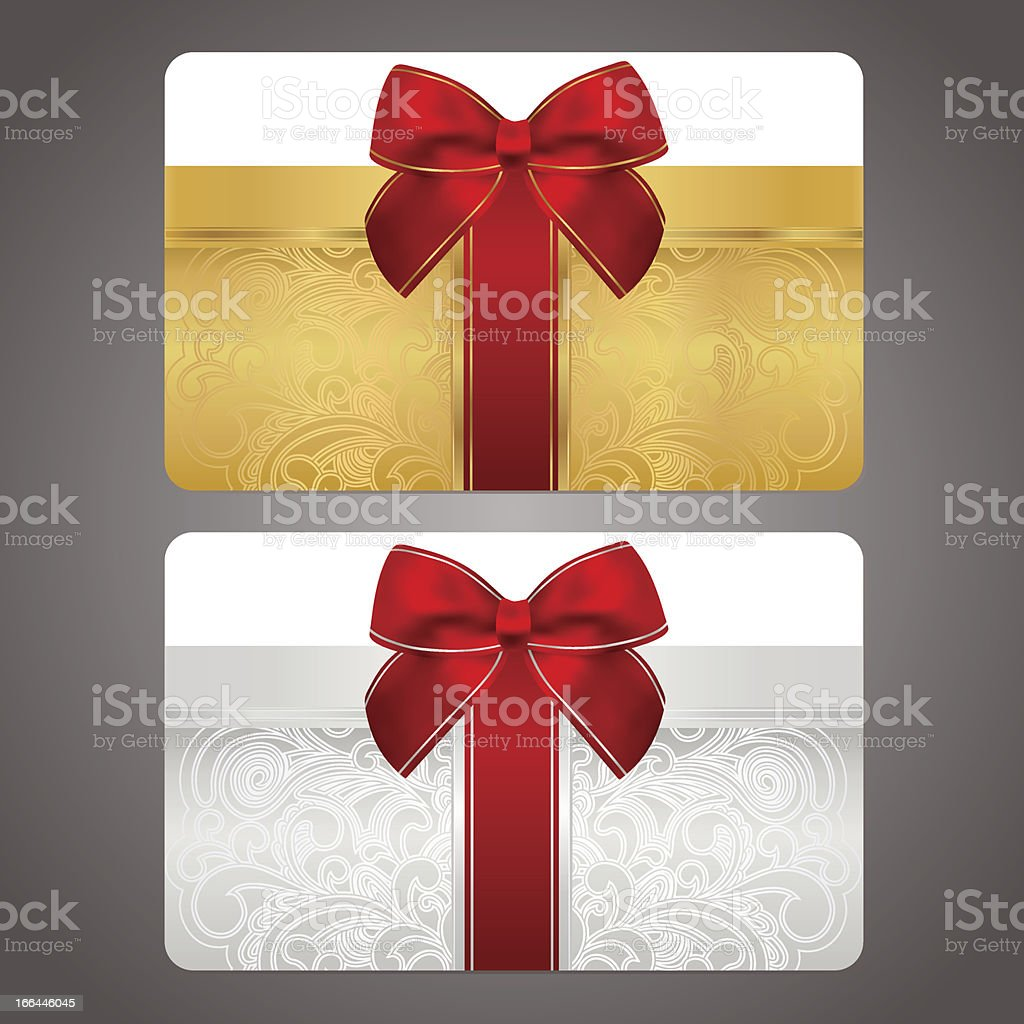 Golden and silver gift card (discount) with red bow (ribbons) royalty-free stock vector art