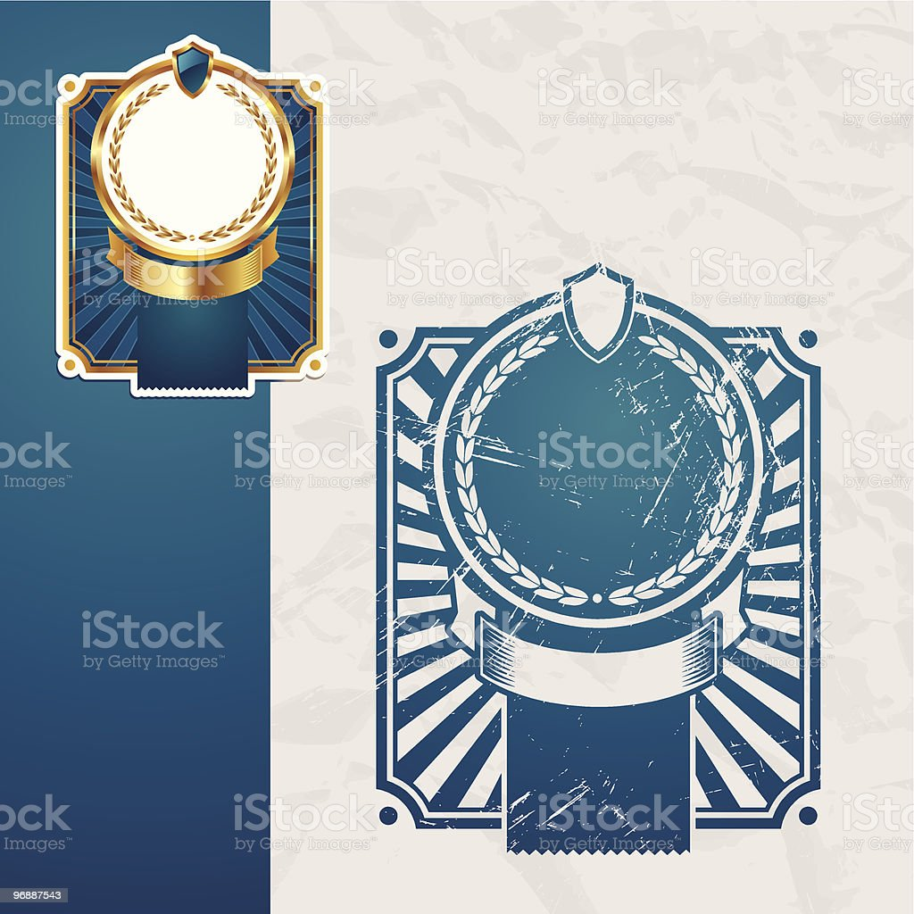 Golden and vintage vector blue frames royalty-free stock vector art