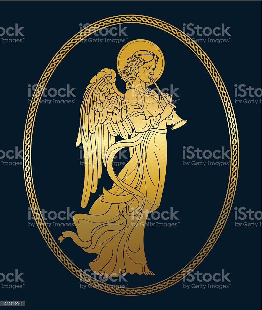 Golden angel with flute vector art illustration