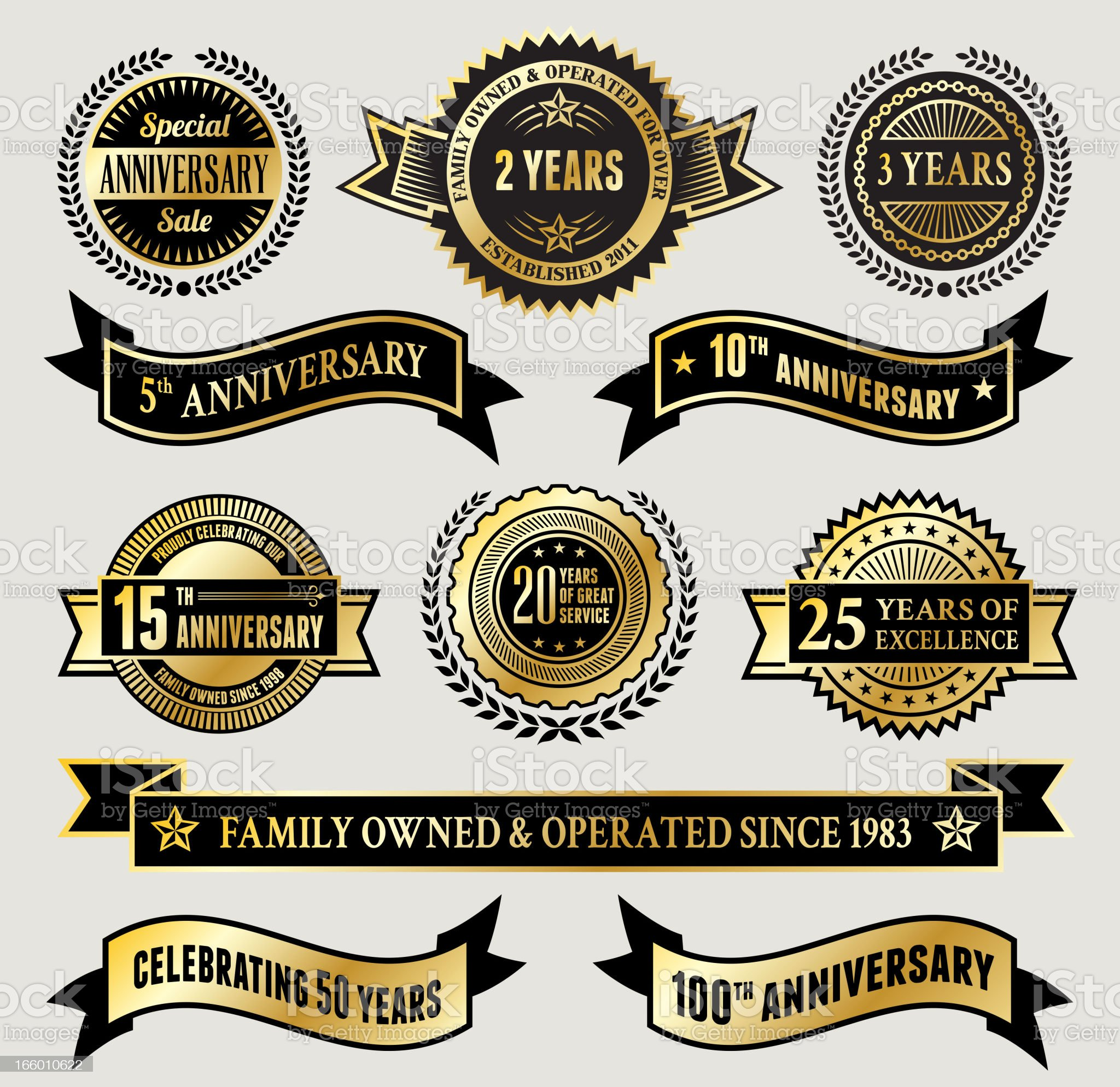 Golden Anniversary Badge Collection royalty-free stock vector art
