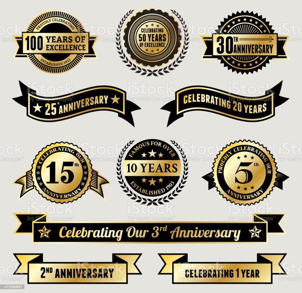 Golden Anniversary Badge Collection vector art illustration