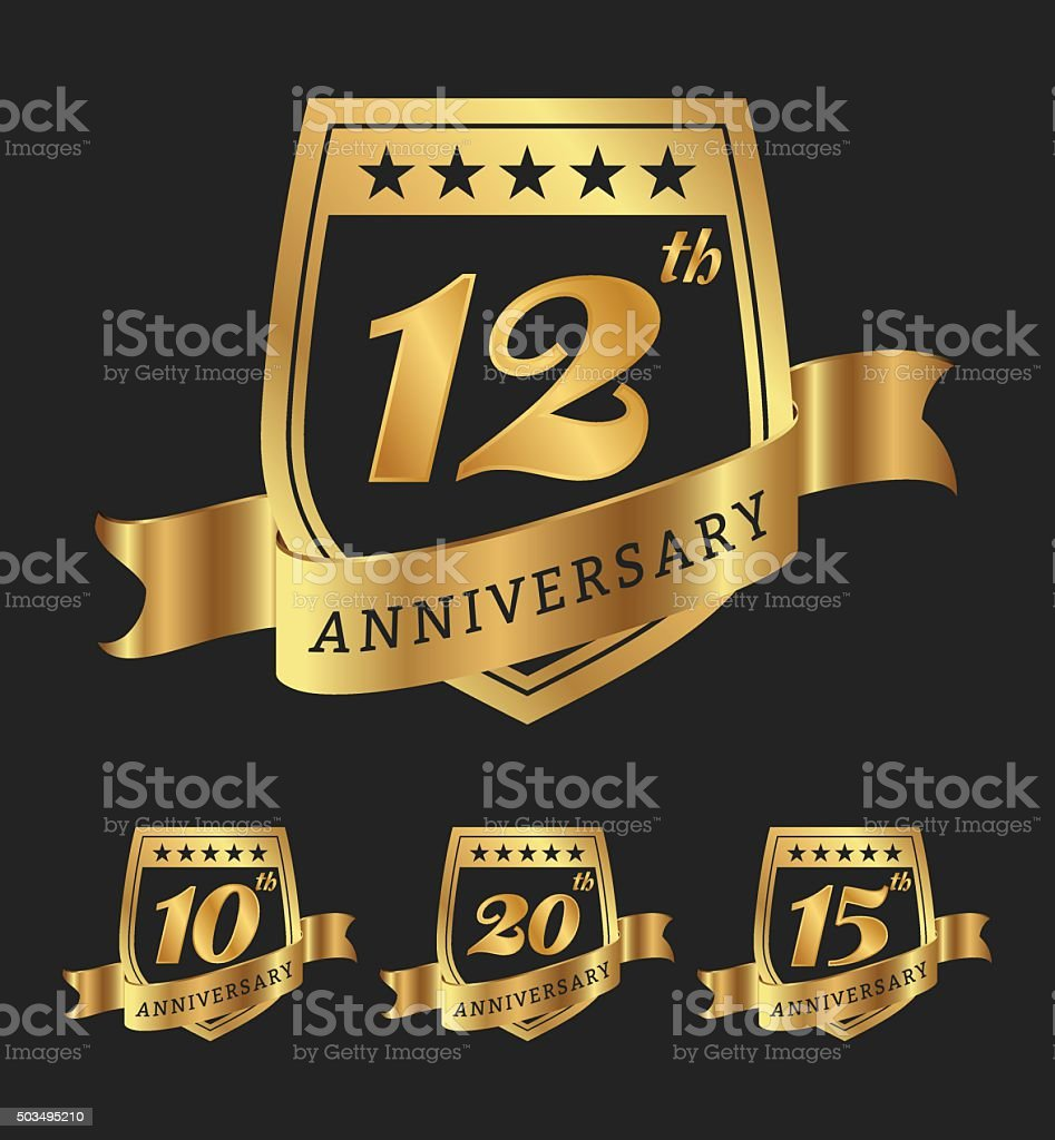 Golden anniversary badge labels design vector art illustration