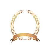 Golden award laurel wreath for winner with swir ribbon