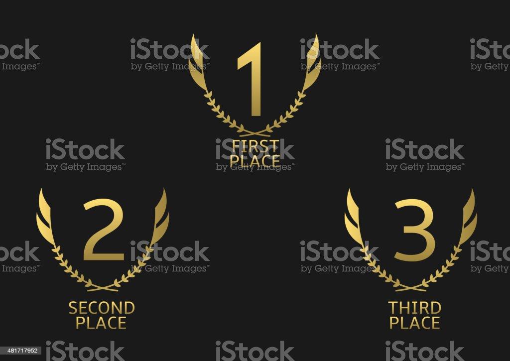 Golden awards vector art illustration