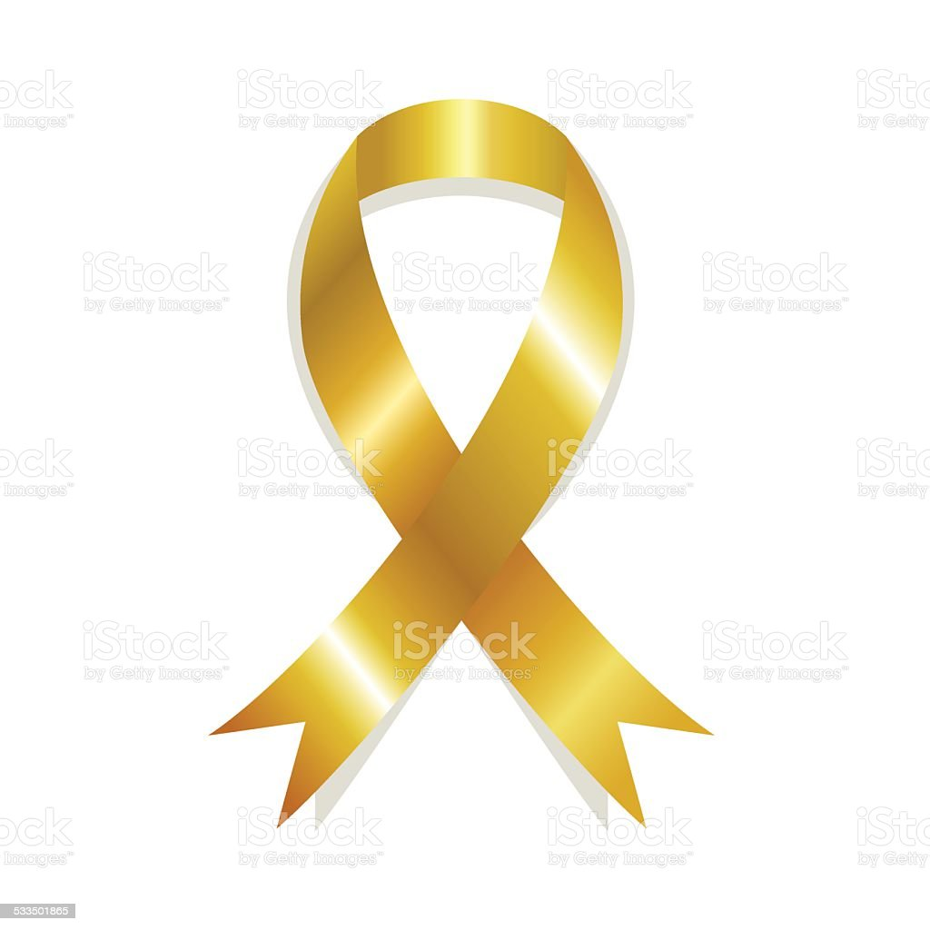 Golden awareness ribbon vector art illustration
