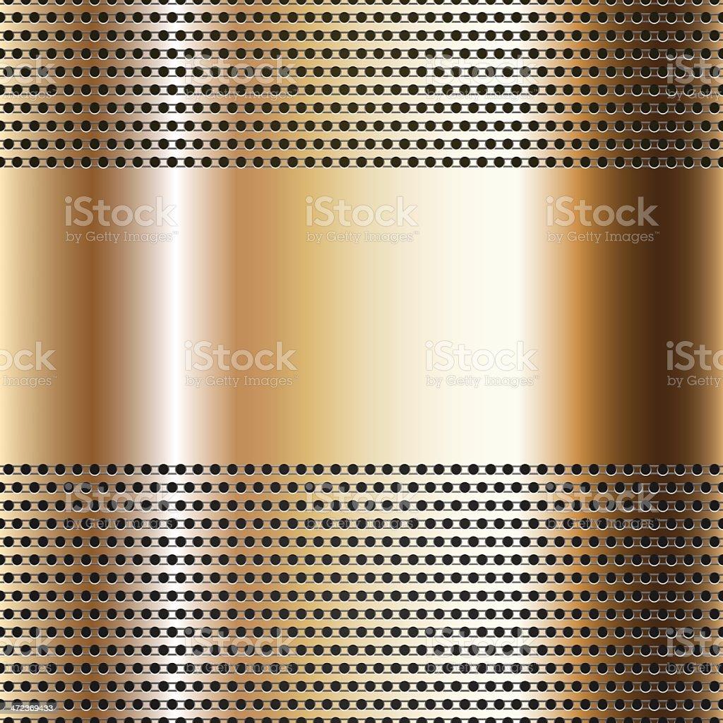 Golden background perforated sheet vector art illustration
