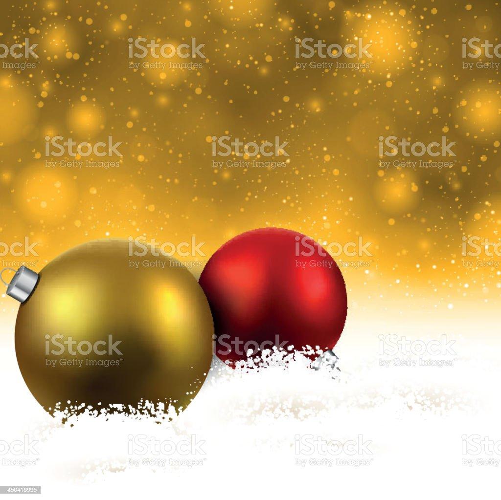Golden background with christmas balls. vector art illustration