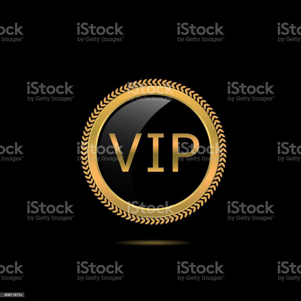 VIP golden badge vector art illustration