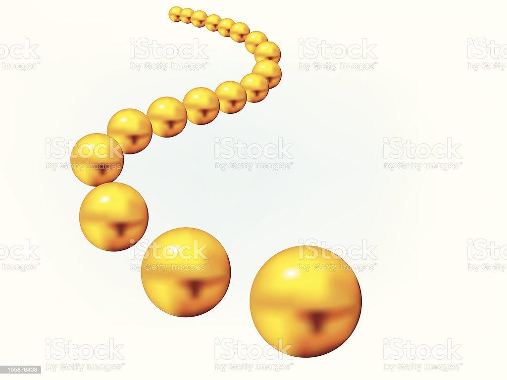 Golden balls in S-curve vector art illustration