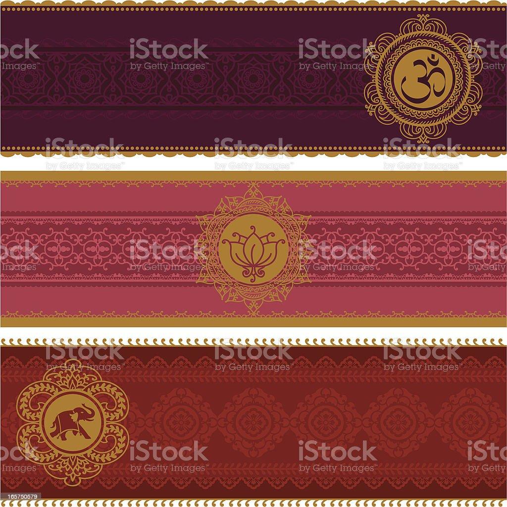 Golden Banners vector art illustration