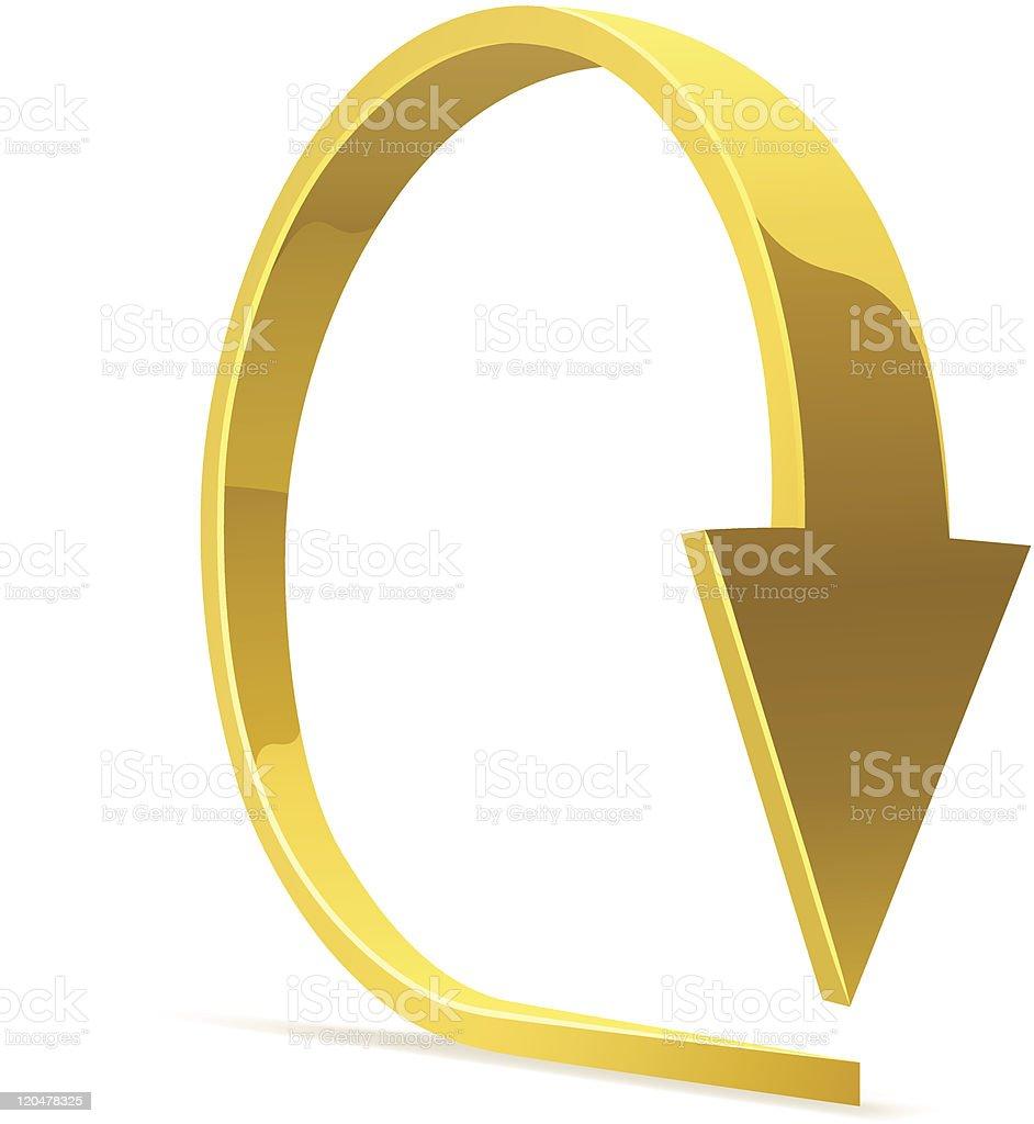 Golden bent arrow. vector art illustration