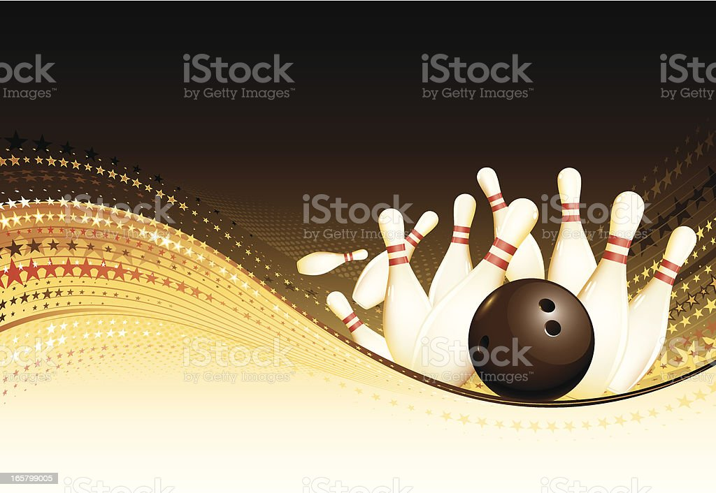 Golden bowling background royalty-free stock vector art